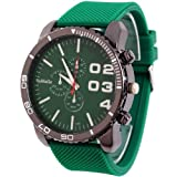 2013newestseller 1pcs Green Casual Mens Womens 3 Eyes Big Dial Quartz Wrist Watches