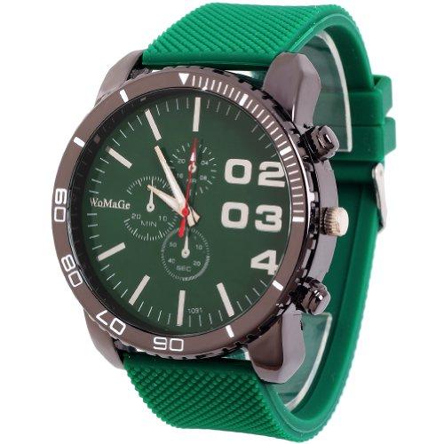 Eye Dial Watch (2013newestseller 1pcs Green Casual Mens Womens 3 Eyes Big Dial Quartz Wrist Watches)