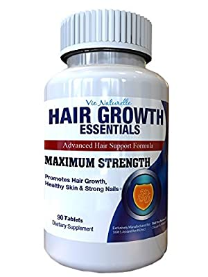 Hair Growth Essentials Supplement For Hair Loss - Advanced Hair Regrowth Treatment With 29 Powerful Hair Growth Vitamins & Nutrients for Rapid Growth for Women and Men - 90 Easy to Swallow Pills