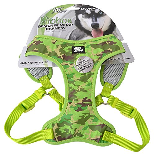 Coastal Pet Pet Attire Ribbon Designer Adjustable Dog Harness Lime 3/4 x 22-28 -
