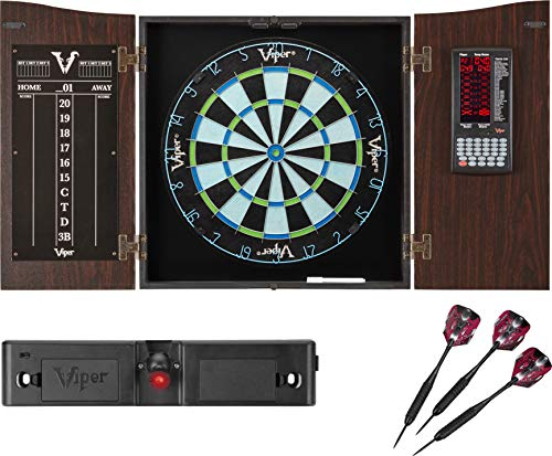 Viper Vault Deluxe Dartboard Cabinet with Integrated Pro Score, Chroma Sisal Dartboard, Laser Dart Throw Line, and Black Mariah Steel Tip Darts, Mahogony Finish