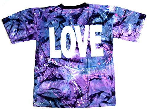 T-Shirt LOVE Nr. 4 Größe L Batik Baumwolle beidseitig Siebdruck Original 1990er Jahre
