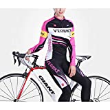 Beydodo Women Cycling Jersey Long Sleeve Riding Suit Motorcycle Pink Outdoor and Running, Racing Sport Long Sleeves Size L