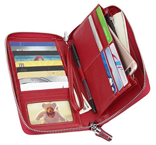 Women RFID Blocking Wallet Genuine Leather Zip Around Clutch Large Travel Purse Red