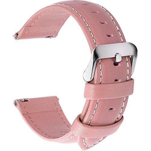 12 Colors for Quick Release Leather Watch Band, Fullmosa Axus Series Genuine Leather Replacement Watch Strap with Stainless Metal Clasp 18mm Pink