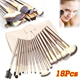 Diy Makeup Vanity Lospu HY 18 Pcs Professional Makeup Brushes Set, Synthetic Kabuki Face Blush Lip Eyeshadow Eyeliner Foundation Powder Liquid Cream Soft Cosmetic Brushes Kit with Pouch Bag