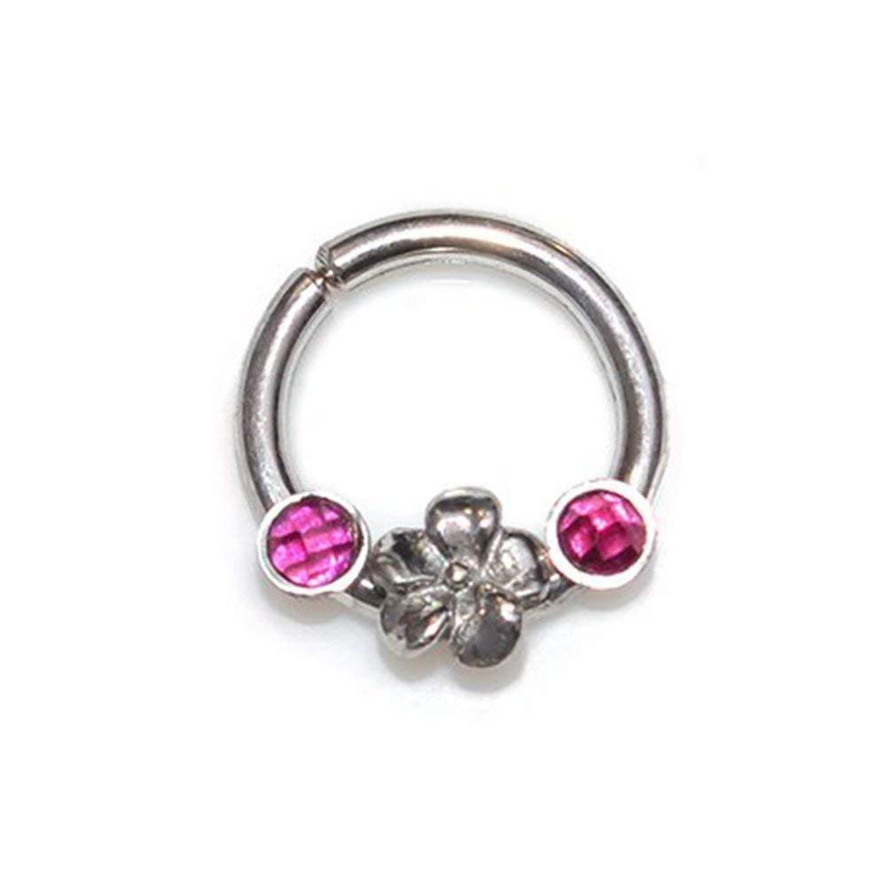 Amazon Com Silver Flower 2mm Ruby Septum Ring 16 Gauge Septum