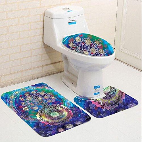 Keshia Dwete three-piece toilet seat pad custom Collection Tree of Life with Floral Style Mandala Spiritual Artwork Meditation Peace Spa Design Blue ()