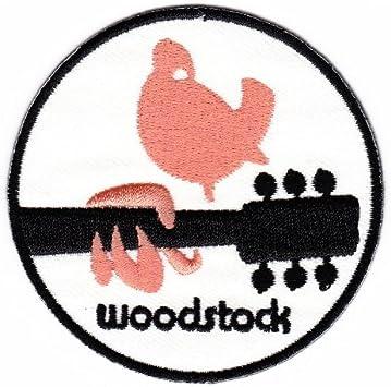 Aufnäher Bügelbild Aufbügler Iron On Patches Applikation Woodstock Peace Taube Frieden Gitarre Musik Auto