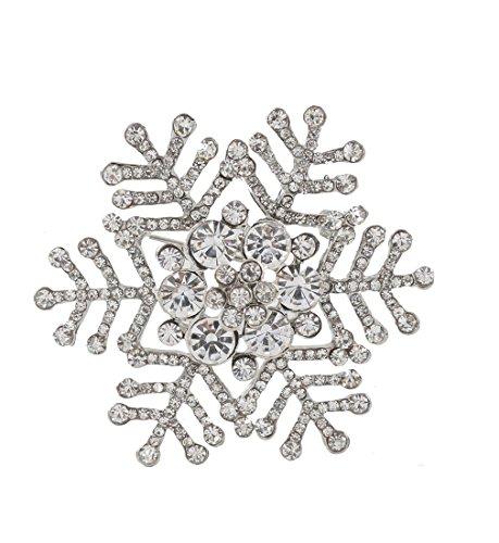 Christmas Holiday Pin (NLCAC Xmas Pin Brooch Crystal Cluster Silver Tone Holiday Snowflake)