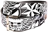 Search : Men's Women's Leather Tattoo Print Belt White & Black Graffiti Design with Removable Snap Silver Buckle Biker Skateboarding Punk Rock Snap On Buckle New Design Great Gift Idea