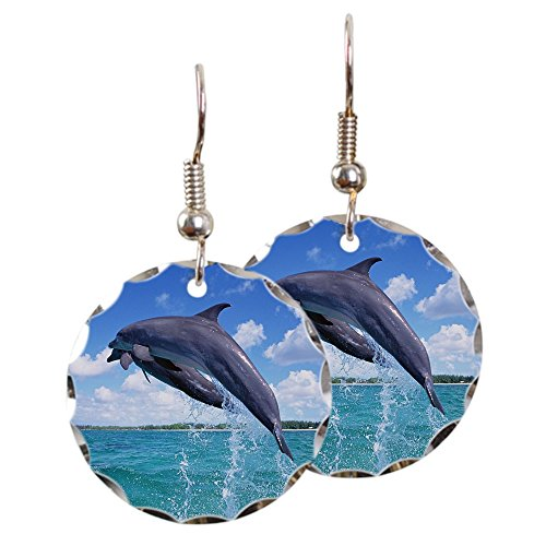 - Earring Circle Charm Dolphins Singing