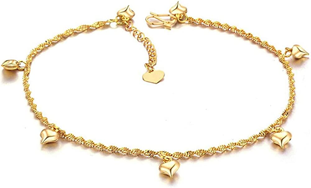 Star Jewelry Heart Ankle Bracelet for Women Gold Adjustable Beach Chain Anklet Foot Jewelry
