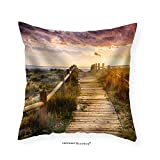 VROSELV Custom Cotton Linen Pillowcase Sunset Beach near Almeria. Cabo De Gata Nijar Natural Park Almer&iacuteA. Spain. Andalusia - Fabric Home Decor 28''x28''