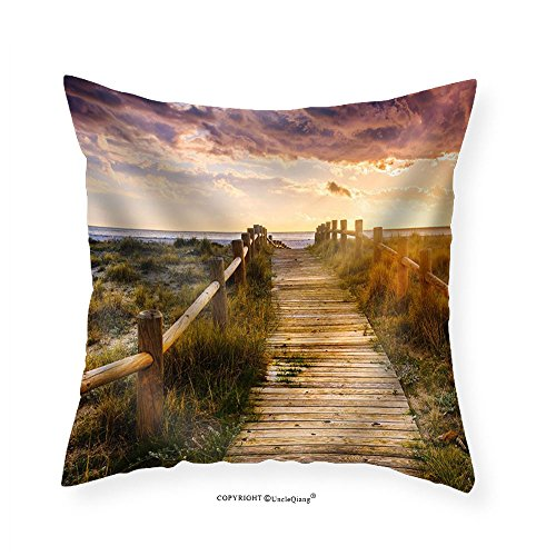 VROSELV Custom Cotton Linen Pillowcase Sunset Beach near Almeria. Cabo De Gata Nijar Natural Park Almer&iacuteA. Spain. Andalusia - Fabric Home Decor 28''x28'' by VROSELV