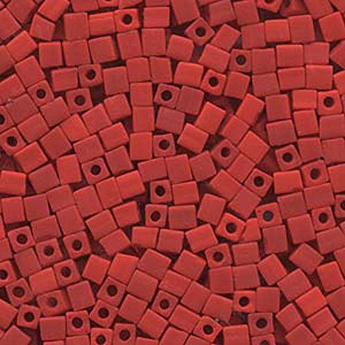 20Gr Opaque Frosted Red Miyuki 4mm Square Cube Glass Seed Beads