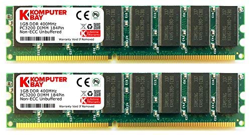 - Komputerbay 2GB ( 2 X 1GB ) DDR DIMM (184 PIN) 400Mhz DDR400 PC3200 DESKTOP MEMORY WITH SAMSUNG CHIPS CL 3.0
