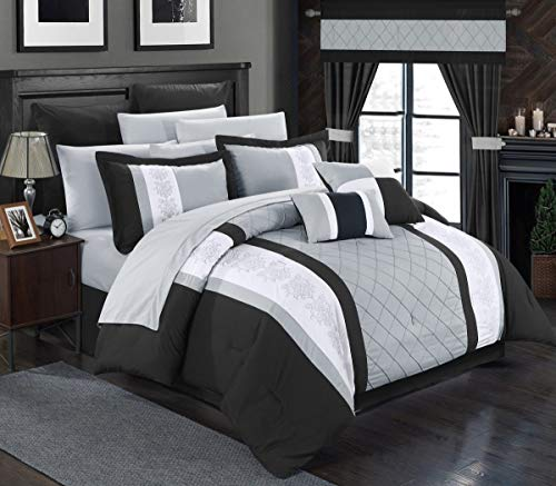 (Perfect Home 24 Piece Aura Complete Pintuck Embroidery color block bedding, sheets, window panel collection Queen Bed In a Bag Comforter Set Black, Sheets Included)