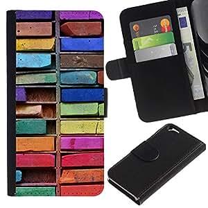 All Phone Most Case / Oferta Especial Cáscara Funda de cuero Monedero Cubierta de proteccion Caso / Wallet Case for Apple Iphone 6 // Colorful Drawing Art Messy