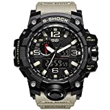 SMAEL Men's Sports Analog Digtal Wrist Watch Dual Quartz Movement Military Time Water Resistant with Backlight (Beige)