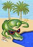 Toland Home Garden Gatorglades 28 x 40 Inch Decorative Tropical Summer Beach Alligator House Flag