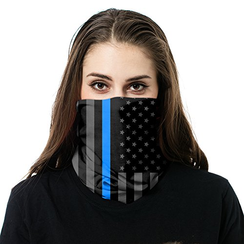 FACE MASK | Thin Blue Line | Police Appreciation | Used as a Shield for elements, Sun Mask Neck Gaiter Balaclava Bandanna (Stay Bandanna Cool)