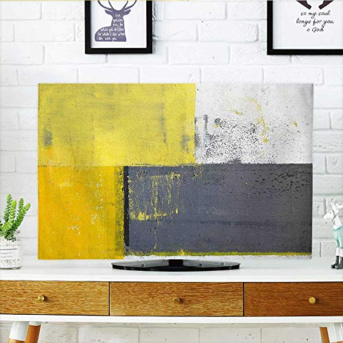 Dust Resistant Television Protector Yellow Street Art Modern Grunge Abstract Design Squares White Charcoal Grey and Light tv dust Cover W30 x H50 INCH/TV 52