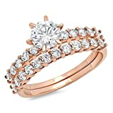 3.30 CT Round Cut CZ Pave Halo Solitaire Designer Classic Ring band set Solid 14k Rose Gold