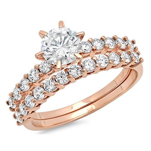 2.94ct Round Cut Pave Solitaire with Accent VVS1 Ideal D Moissanite & Simulated Diamond Engagement Promise Designer Anniversary Wedding Bridal ring band set 14k Rose Gold Sz ()