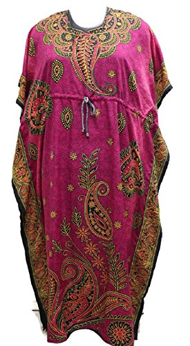 Decoraapparel Des Femmes De Chaise Vintage Print Maxi Robe Caftan Caftan Taille Rose Violet