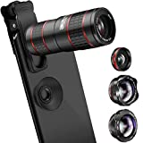 Phone Camera Lens, KNGUVTH 5 in 1 Cell Phone Lens Kit - 12X Zoom Telephoto Lens + Fisheye Lens + Super Wide Angle Lens+ Macro Lens (2 Lens) for iPhone X/8/7/6/6s Plus Samsung Andriod Smartphones
