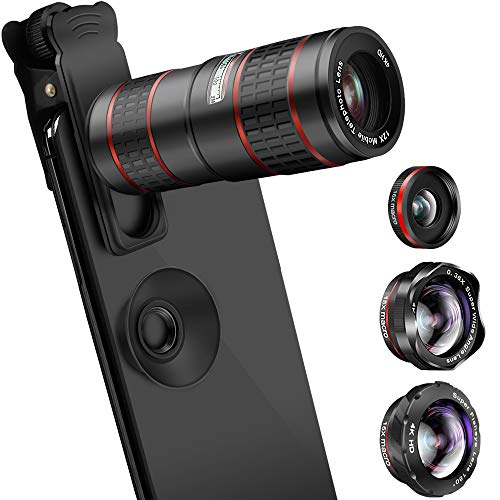 Phone Camera Lens, KNGUVTH 5 in 1 Cell Phone Lens Kit - 12X Zoom Telephoto Lens + Fisheye Lens + Super Wide Angle Lens+ Macro Lens (2 Lens) for iPhone X/8/7/6/6s Plus Samsung Andriod Smartphones by KNGUVTH