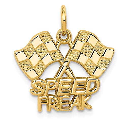 - 14k Yellow Gold Racing Flags Speed Freak Pendant Charm Necklace Talking Sport Man Fine Jewelry Gift For Dad Mens For Him
