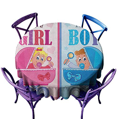(ONECUTE Resistant Table Cover,Gender Reveal Girl and Boy Baby Carriage Looking Newborn Announcement Theme Print,Resistant/Spill-Proof/Waterproof Table Cover,70 INCH Pale Pink and Blue)