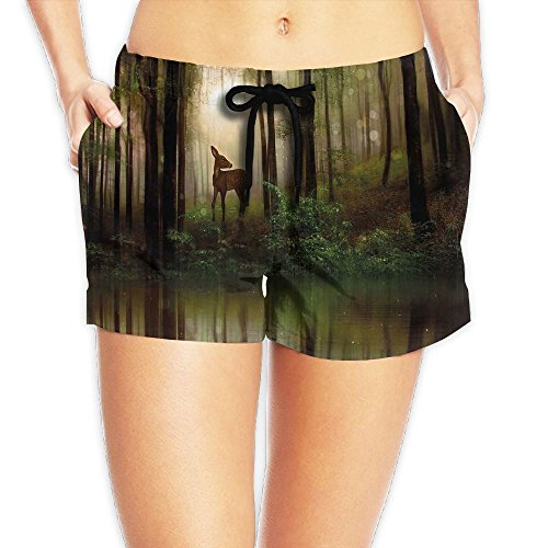 Womens Woodland Camo Gauze - Ebuggey Girl's Short Beach Pant - Baby Deer in The Forest with Reflection On Lake Foggy Woodland Graphic Pants XL