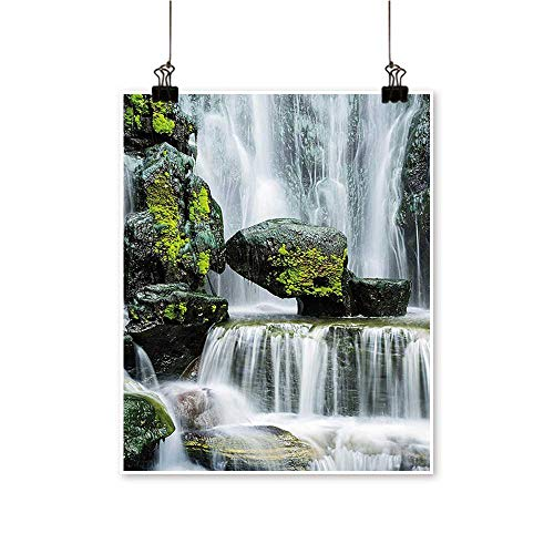 for Home Decoration Majestic Waterfall Blocked with Massive Rocks with Moss on Them Green Black and for Home Decoration No Frame,24