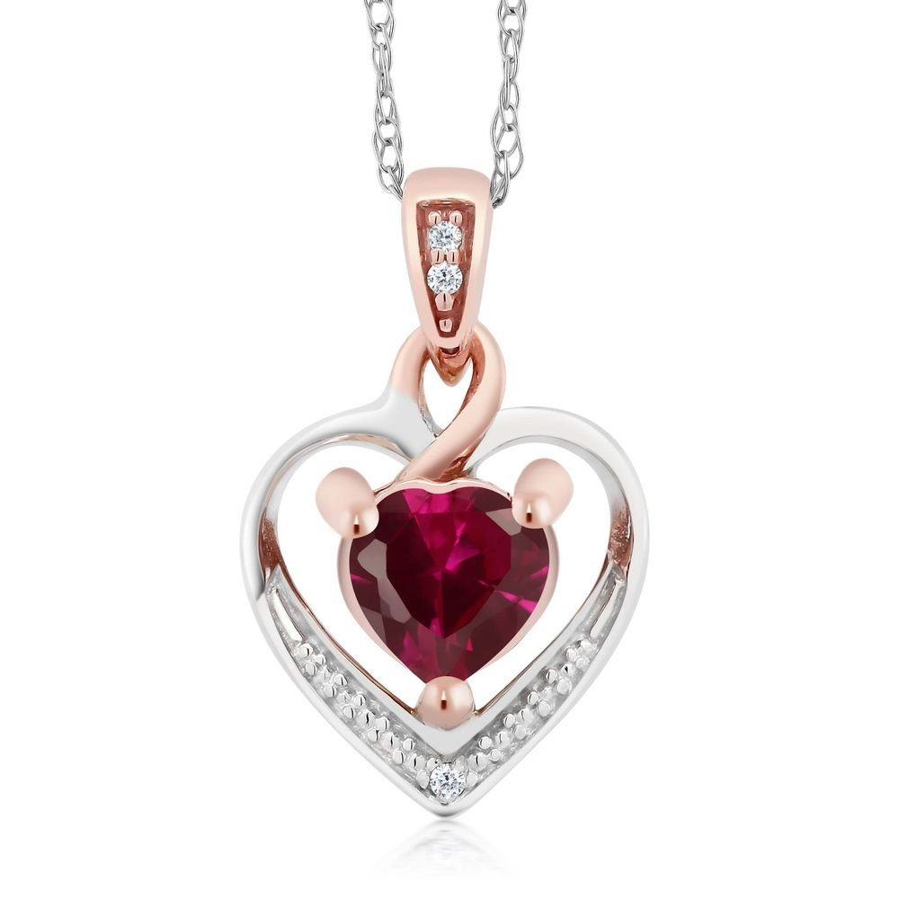 10K White and Rose Gold Red Created Ruby and Diamond Heart Shape Pendant Necklace (0.60 cttw, With 18 inch Chain)