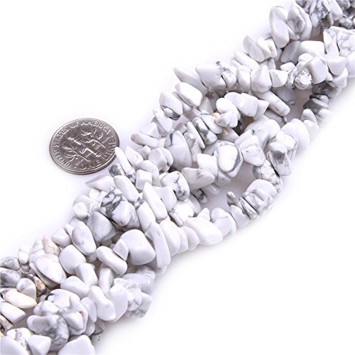 White Howlite Chip - 5-8mm White Howlite Chips Chip Beads Loose Gemstone Beads for Jewelry Making Strand 35 Inch