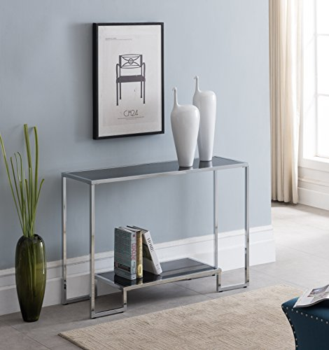 Chrome Finish / Black Glass Top 2-tier Console Sofa Table 44″W