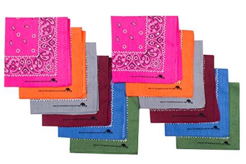 Original Elephant Brand Bandanas 100% Cotton Since 1898-12 Pack (Assorted Dark)