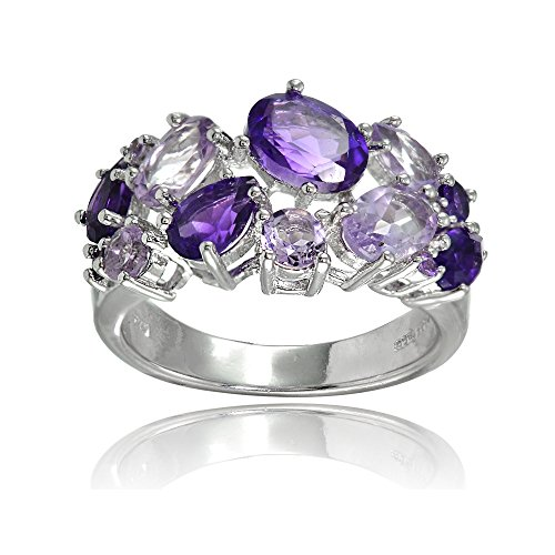 Sterling Silver Genuine African Amethyst and Amethyst Tonal Cluster Ring