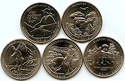 2016 P Complete Set of 5 National Park Quarters Uncirculated