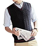 Product review for SYTX Mens Casual V-Neck Sleeveless Knitted Vest Waistcoat Pullover Sweater