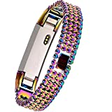 Wishteta Replacement Accessory Metal Watch Bands for Fitbit Alta (Courful Metal-01 - 5.5