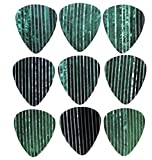 """Unique and Custom (.5 mm Thick) Thin Gauge Hard Plastic, Traditional Style """"Semi Tip"""" Guitar Pick w/ Iridescent Jade Seashell Pinstripe Pattern Design {Green, Black & Silver - 9 Picks Multipack}"""