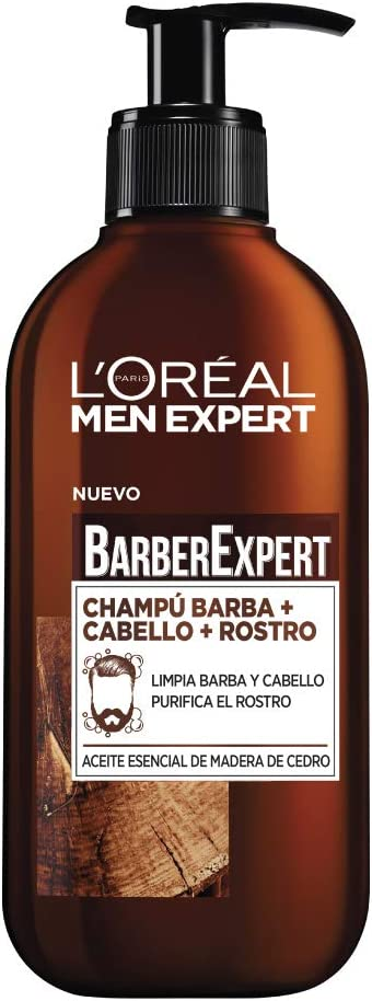 L'Oréal Paris Men Expert Barber Club- Champú 3 en 1, para Barba, Cabello y Rostro, Pack of 2 x 200 ml
