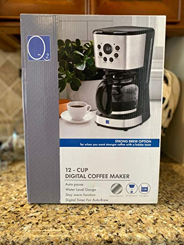 Q2 Deluxe 12-Cup Digital Electric Coffee Maker with Programmable Digital Timer for Auto-Brew - 1.8L Black Glass Carafe, Strong Brew Option, Stay Warm Function, Non-Drip, Digital Screen, Water Level Indicator, Removable & Reusable Filter and Black/Stainless Steel Design