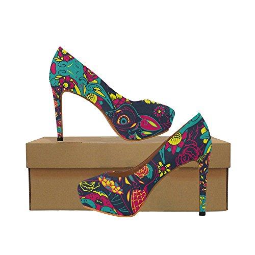 Unique Debora Custom Fashion Sexy Women's High Heels Platform Pump Shoes for Day of The Dead Colorful Sugar Cat -