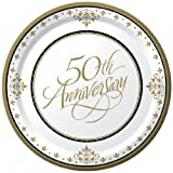 Stafford Gold 50th Anniversary 6 7/8in Paper Plates 18 Per Pack, Health Care Stuffs