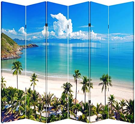 TOA 4, 6 or 8 Panel Office Wood Folding Screen Decorative Canvas Privacy Partition Room Divider – Beach Huts 6 Panels